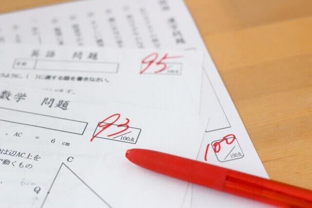 採点された答案用紙
