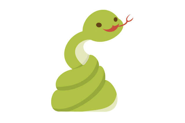 とぐろを巻くヘビ
